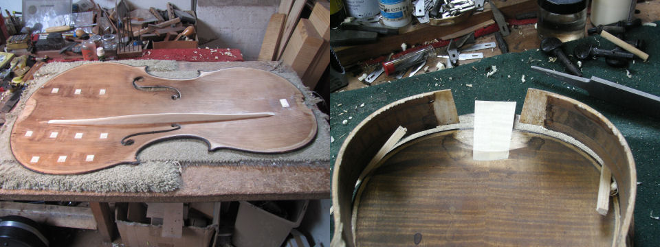 Left:- a cello with three repaired cracks and a new bass bar{br}Right:- A button graft in progress