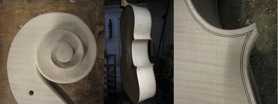 A violincello in the white based on a Stradivarius pattern made by Christopher Beament