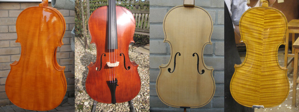 The back of one pupil's varnished Stradivarius model violincello; the front of a different pupil's Stradivarius Cello; the front of an unvarnished Gagliano violin; the back of a varnished Guarnerius violin.
