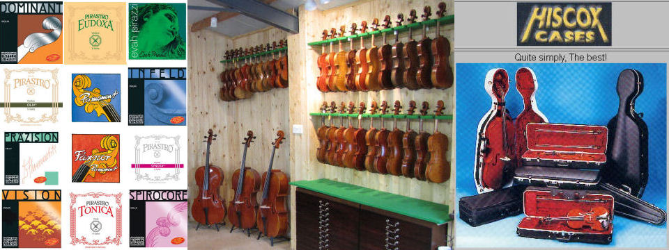 A full range of Pirastro and Thomastik strings as well as rosin, chinrests, shoulder rests and cases including Hiscox cases are carried in stock.