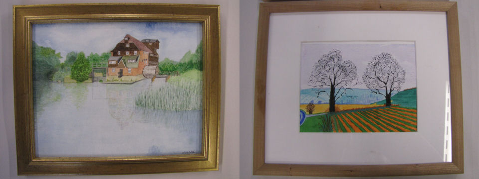Some examples of work done by pupils in the watercolour painting classes.