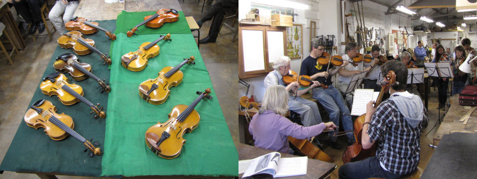 On one evening normally towards the end of the course instruments made by pupils are on display and a professional player is invited in to try them out. On the Saturday afternoon for those that can stay on some informal music making takes place.